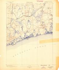Charlestown, Rhode Island 1889 (1889) USGS Old Topo Map 15x15 Quad