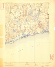 Charlestown, Rhode Island 1889 (1909) USGS Old Topo Map 15x15 Quad