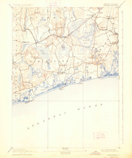 Charlestown, Rhode Island 1889 (1926) USGS Old Topo Map 15x15 Quad