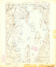 Narragansett Bay, Rhode Island 1890 (1890) USGS Old Topo Map 15x15 Quad