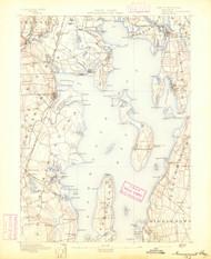 Narragansett Bay, Rhode Island 1892 (1892) USGS Old Topo Map 15x15 Quad