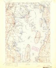 Narragansett Bay, Rhode Island 1892 (1904) USGS Old Topo Map 15x15 Quad