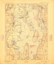 Narragansett Bay, Rhode Island 1892 (1910) USGS Old Topo Map 15x15 Quad
