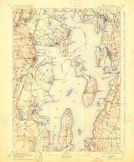 Narragansett Bay, Rhode Island 1892 (1924) USGS Old Topo Map 15x15 Quad