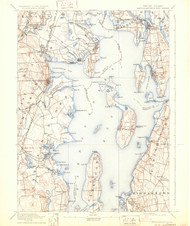 Narragansett Bay, Rhode Island 1892 (1931) USGS Old Topo Map 15x15 Quad