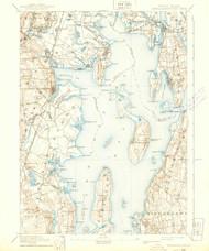 Narragansett Bay, Rhode Island 1892 (1939) USGS Old Topo Map 15x15 Quad
