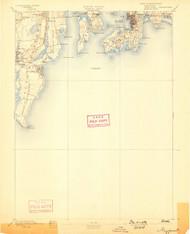 Newport, Rhode Island 1894 (1898) USGS Old Topo Map 15x15 Quad