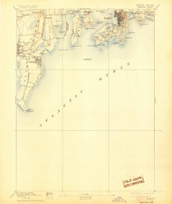 Newport, Rhode Island 1894 (1905) USGS Old Topo Map 15x15 Quad