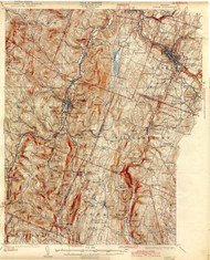 Barre, VT 1924 USGS Old Topo Map 15x15 Quad