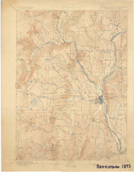 Brattleboro, VT 1893 USGS Old Topo Map 15x15 Quad