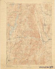 Castleton, VT 1897 USGS Old Topo Map 15x15 Quad