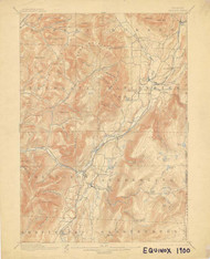 Equinox, VT 1900-1905 USGS Old Topo Map 15x15 Quad