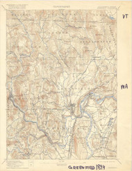 Greenfield, VT 1894 USGS Old Topo Map 15x15 Quad