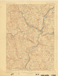 Hanover, VT 1908 USGS Old Topo Map 15x15 Quad