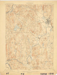 Keene, VT 1898 USGS Old Topo Map 15x15 Quad