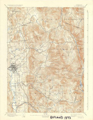 Rutland, VT 1893 USGS Old Topo Map 15x15 Quad