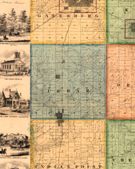 Cedar, Illinois 1861 Old Town Map Custom Print - Knox Co.