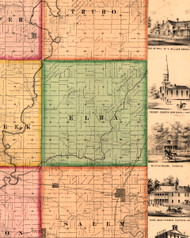 Elba, Illinois 1861 Old Town Map Custom Print - Knox Co.