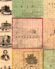 Henderson, Illinois 1861 Old Town Map Custom Print - Knox Co.