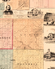 Lynn, Illinois 1861 Old Town Map Custom Print - Knox Co.