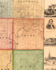 Truro, Illinois 1861 Old Town Map Custom Print - Knox Co.
