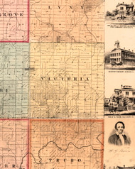 Victoria, Illinois 1861 Old Town Map Custom Print - Knox Co.