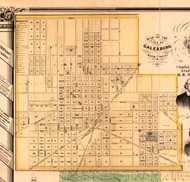 City of Galesburg - Knox Co., Illinois 1861 Old Town Map Custom Print - Knox Co.