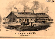 C.B.&Q. R.R. Depot - Knox Co., Illinois 1861 Old Town Map Custom Print - Knox Co.