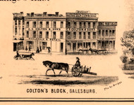 Colton's Block - Knox Co., Illinois 1861 Old Town Map Custom Print - Knox Co.
