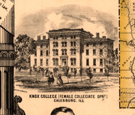 Knox College (Female Department) - Knox Co., Illinois 1861 Old Town Map Custom Print - Knox Co.