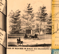 Res. of Rev. R.W. Gale - Knox Co., Illinois 1861 Old Town Map Custom Print - Knox Co.