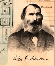 Portrait of John G. Sauburn - Knox Co., Illinois 1861 Old Town Map Custom Print - Knox Co.