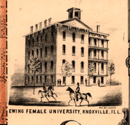 Ewing Female University - Knox Co., Illinois 1861 Old Town Map Custom Print - Knox Co.