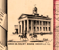 County Court House - Knox Co., Illinois 1861 Old Town Map Custom Print - Knox Co.