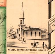 Prysbetatian Church - Knox Co., Illinois 1861 Old Town Map Custom Print - Knox Co.