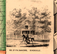 Res. of P.H. Sanford - Knox Co., Illinois 1861 Old Town Map Custom Print - Knox Co.