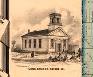 Oneida Congregational Church - Knox Co., Illinois 1861 Old Town Map Custom Print - Knox Co.