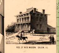 Res. of M.B. Mason - Knox Co., Illinois 1861 Old Town Map Custom Print - Knox Co.