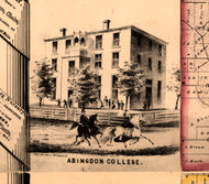 Abingdon College - Knox Co., Illinois 1861 Old Town Map Custom Print - Knox Co.