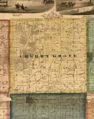 Cherry Grove, Illinois 1869 Old Town Map Custom Print - Carroll Co.
