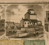 Lanark Elervator - Lanark, Illinois 1869 Old Town Map Custom Print - Carroll Co.