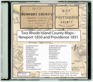 Map of Newport County, Rhode Island & Map of Providence County, Rhode Island, 1850-1851, CDROM Old Map