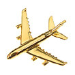 CL005 | Clivedon Collection | Plane Pin 3D -  AIRBUS A380  (gold plated,with box)