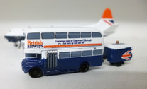 SC224 | Sky Classics Airport Vehicles 1:200 | Routemaster Bus British Airways 'Guaranteed seats to Glasgow and Edinburgh' (with trailer)
