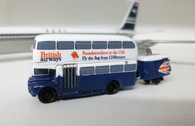 SC227 | Sky Classics Airport Vehicles 1:200 | Routemaster Bus British Airways 'Poundstretchers to the USA' (with trailer)