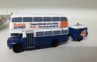 SC229 | Sky Classics Airport Vehicles 1:200 | Routemaster Bus British Airways 'Glasgow, Edinburgh and now Belfast Shuttle - Just turn up and take off' (with trailer)