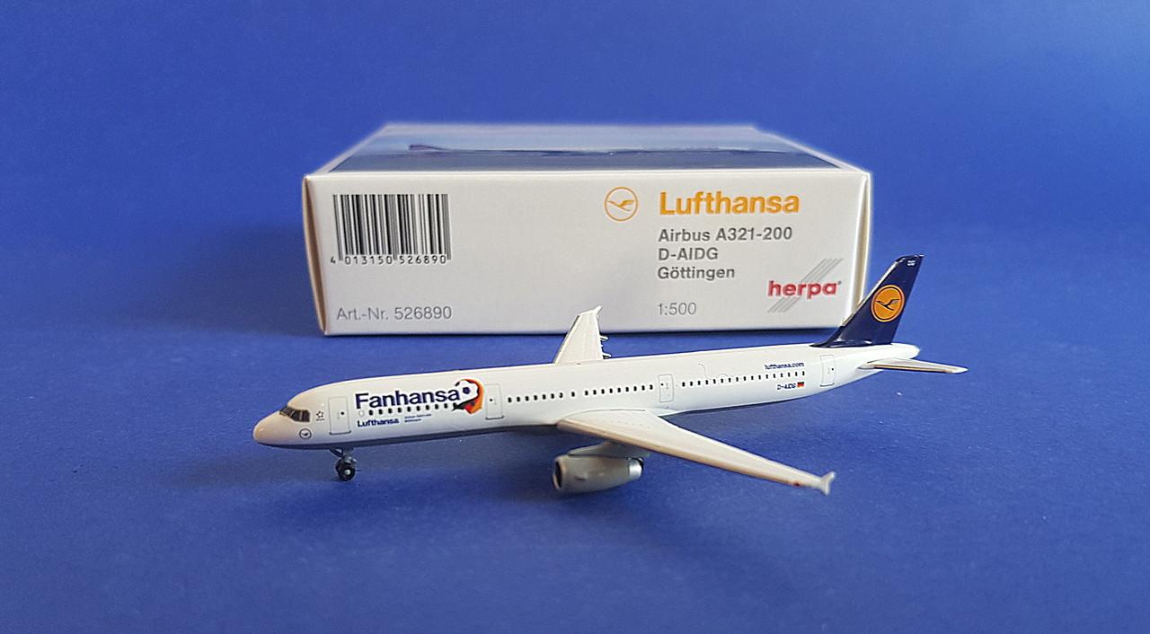Herpa Wings 1:500 airbus a 321 lufthansa fanhansa 526890