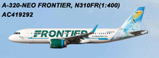 AC419292 | Aero Classics 1:400 | Airbus A320neo Frontier N310FR, 'Lizard' | is due: June 2018