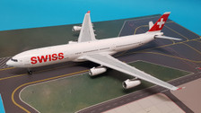 JF-A340-002 | JFox Models 1:200 | Airbus A340-300 Swiss HB-JMA (with stand)