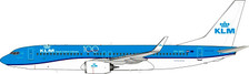 JF-737-8-011 | JFox Models 1:200 | Boeing 737-800 KLM PH-BXC,'100th logo' (with stand) | is due: September 2019